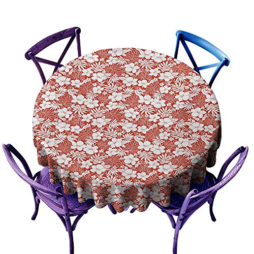 Zodel Waterproof Table Cover,Luau Hawaiian Hibiscus Florets Bouquet Summer Petals Exotic Beauty Wildflowers Print,for Events Party Restaurant Dining Table Cover,35 INCH,Orange ()