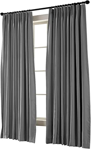 TWOPAGES Pinch Pleated Curtain Gray Solid Thermal Insulated Blackout Drape