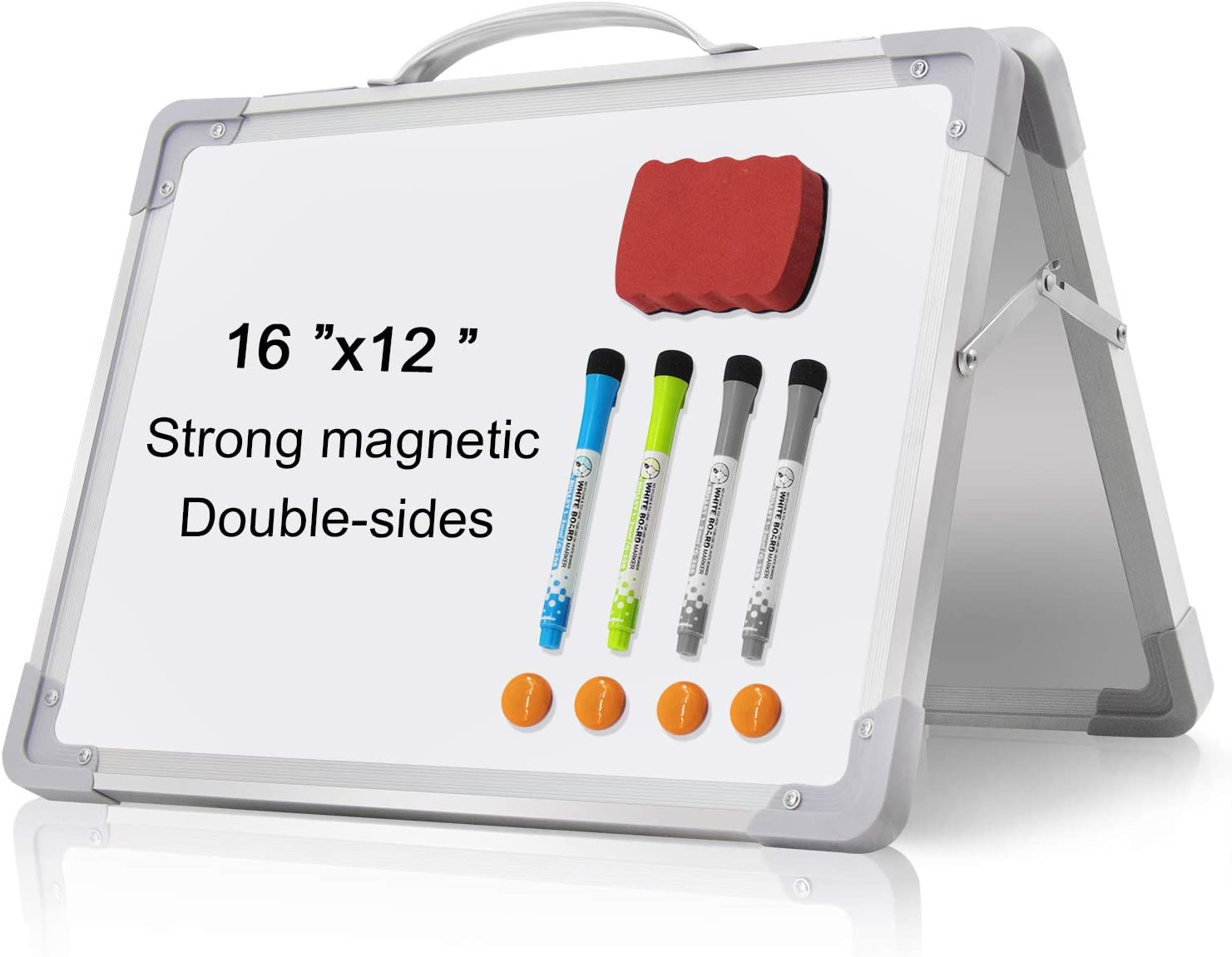 """Small Dry Erase White Board - 16""""x 12"""" Double Sided Mini Foldable Magnetic Desktop whiteboard for Kids Drawing, Teacher Instruction and Meeting Discuss"""