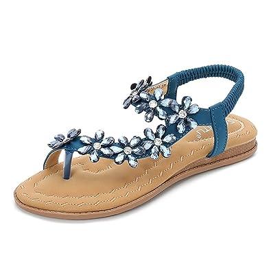5139f5679c0 Wollanlily Women Summer Beach Bohemia Flat Sandals Rhinestones Flower Ankle  Strap Flip-Flop Shoes(