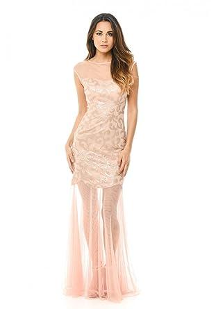 9bdc9003ad AX Paris Women s Sequin Bodice Chiffon Maxi Dress at Amazon Women s  Clothing store