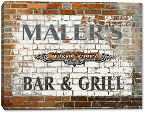 MALER'S Bar & Grill Brick Wall Gallery Wrapped Canvas Sign Home Wall Decor Bar Gift 24