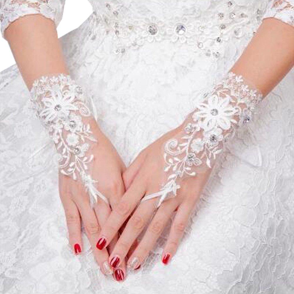 Elegant Lady Formal Banquet Party Bride Pierced Lace Wedding Gloves Bridal Gloves, NO.21