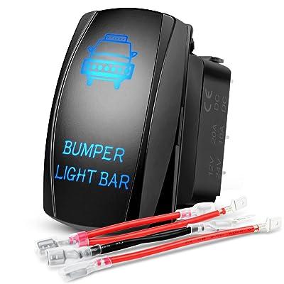 Nilight 90004B Bumper Rocker Led Light Bar 5 Pin Laser 20A/12V 10A/24V Switch Jumper Wires Set,2 Years Warranty: Automotive