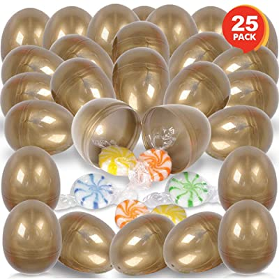 ArtCreativity Gold Hinged Plastic Easter Eggs, Bulk Pack of 25, Golden 2.5 Inch Empty Surprise Eggs for Toys and Candy with Hinge, Unique Egg Hunt Supplies, Easter Party Favors: Toys & Games