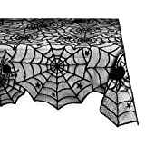 Halloween Lace Table Topper, Halloween Decoration Black Spider Web Tablecloth- 54x72 inch Tablecloth Perfect Halloween, Dinner Parties Scary Movie Nights