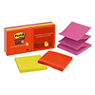 Post-it Super Sticky Pop-up Notes, 3 in x 3 in, Rio de Janeiro Collection, 6 Pads/Pack (R330-6SSAN)