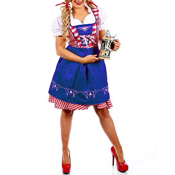 DishyKooker Disfraz de Oktoberfest, Vestido de Cuadros bávaros ...