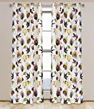 Eden Lined Cotton Floral Grommet Curtain Panels (Set of 2)  54×95-in, White/Brown/Purple/Turquoise/Green/Orange Review