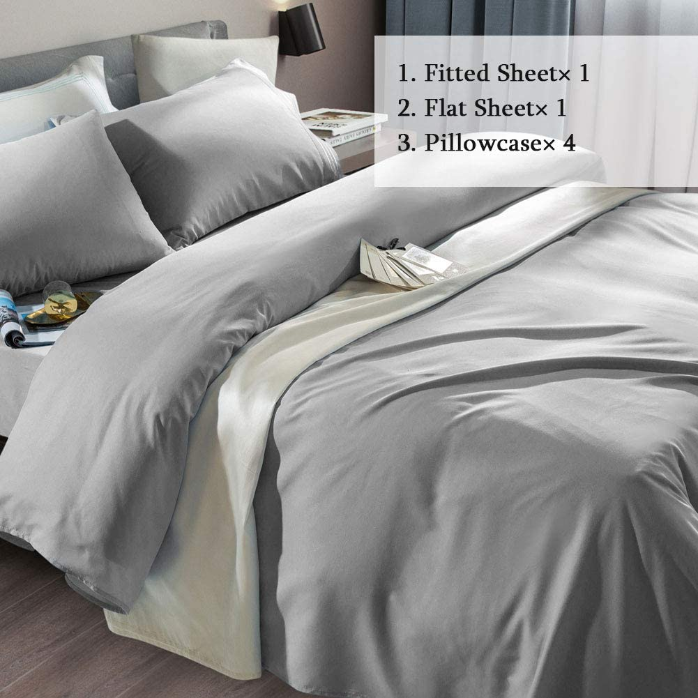 SONORO KATE Bed Sheet Set Super Soft Microfiber 1800 Thread Count Luxury Egyptian Sheets Fit 18-24 Inch Deep Pocket Mattress Wrinkle and Hypoallergenic-6 Piece (Grey, King): Home & Kitchen