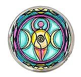 Triple Moon Goddess 1'' Circle Silver Adjustable Ring