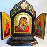Hand Painted Paper-mache Triple Icon Lady of Kazan