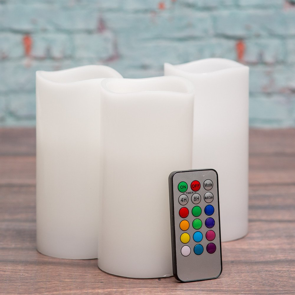 Richland Wavy Top Flameless LED Pillar Candles White 3'' x 6'' with Remote Control Set of 24