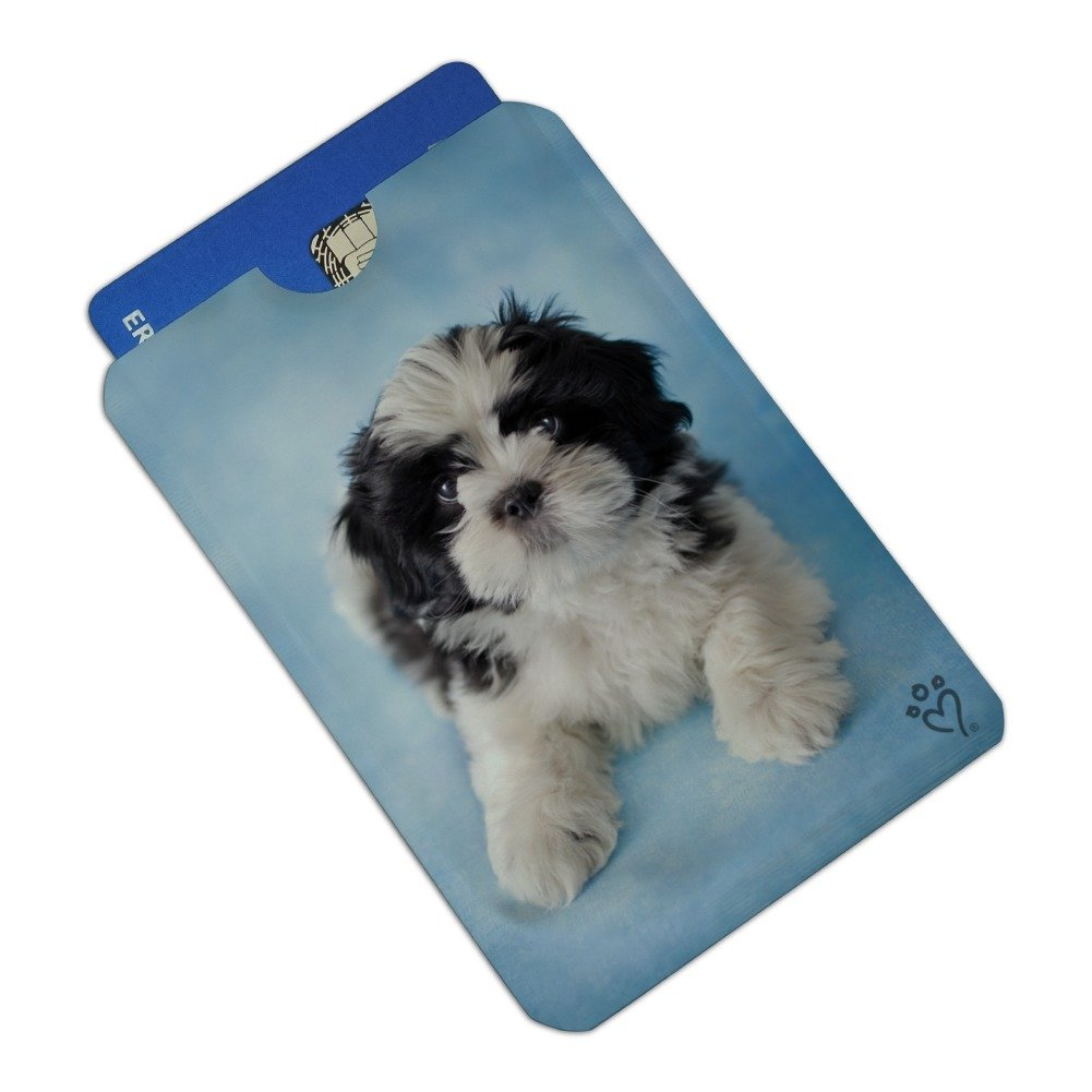 Shih Tzu Dog Black White on Blue Credit Card RFID Blocker Holder Protector Wallet Purse Sleeves Set of 4