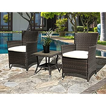 Super Patio Outdoor Patio Wicker Rattan Table Rattan Square Glass Top Wicker Coffee Table End Side Storage Table, Espresso Brown,Aluminum Frame