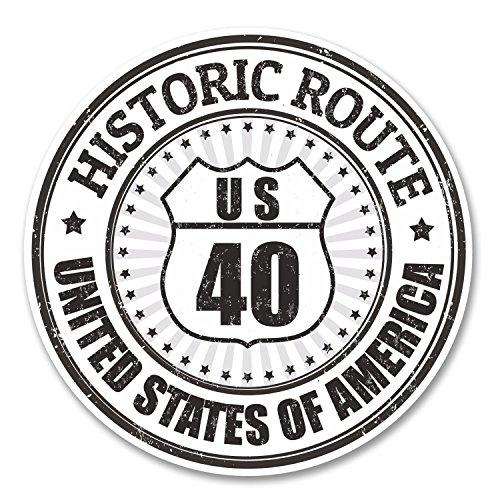 (2 x US40 Historic Route Vinyl Stickers )