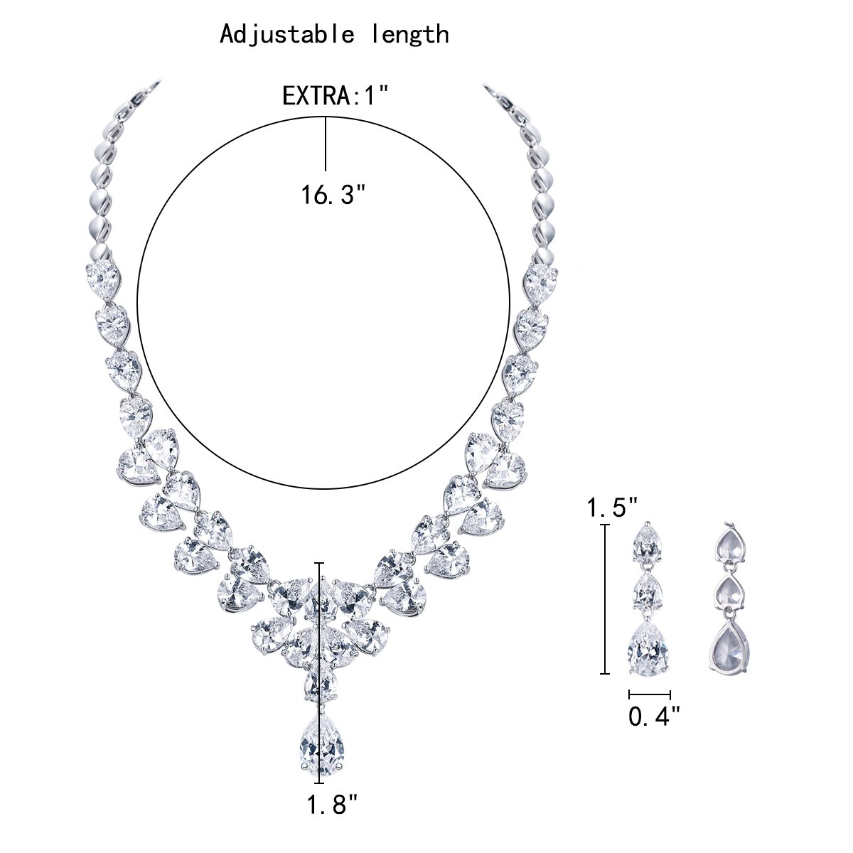 EleQueen Womens Wedding Bridal Jewerly Sets CZ Teardrop Dangle Earrings Statement Necklace Costume Jewerly for Women
