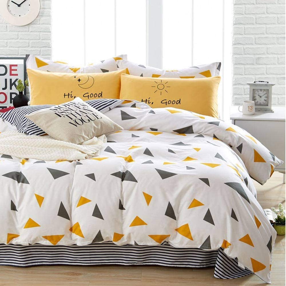 Duvet Cover Set Queen Size - 3 Pieces Geometric Triangle Stirp Microfiber Soft Lightweight Down Duvet Comforter Quilt Bedding Covers with Zip Ties - 90x90 inch for Women Men,Yellow Navy