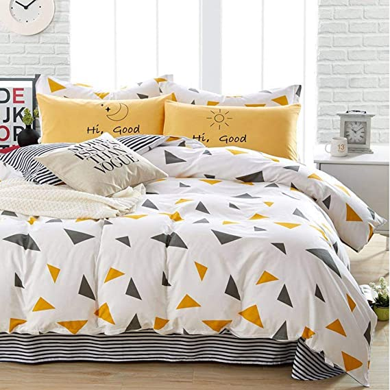 Duvet Cover Set Queen Size 3 Pieces Geometric Triangle Stirp Microfiber Soft Lightweight Down Duvet Comforter Quilt Bedding Covers With Zip Ties 90x90 Inch For Women Men Yellow Navy Kitchen Dining Amazon Com