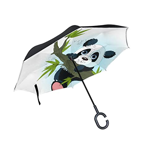 COOSUN Panda Gigante de Escalada de capa doble árbol invertido del paraguas inversa para el coche