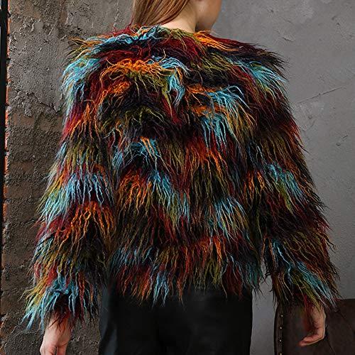 Manteau Couleur D'hiver Manches Collier Unie Longues Polp Lâche Au Chaud Multicolore Veste Manteaux Pour Vêtements Longue Garder Grand Femme Chaleur Peaux qnUxEOF