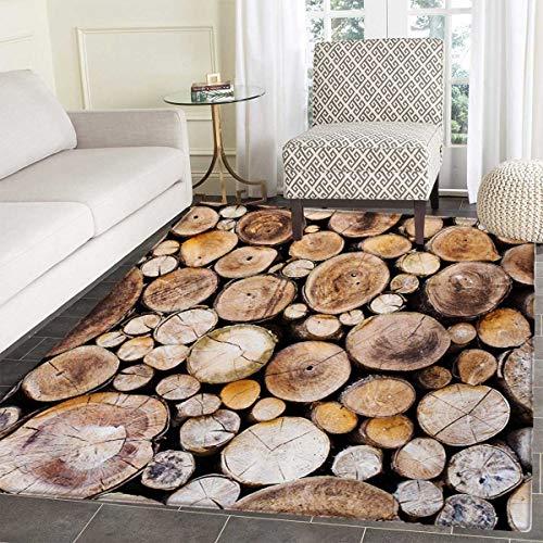 Rustic Door Mats Area Rug Wooden Logs Background Circular Shaped Oak Tree Life Growth Theme Floor mat Bath Mat tub 36