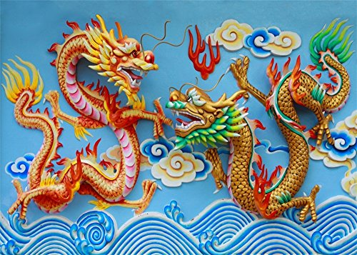 Leowefowa 9X6FT Chinese Dragon Backdrop China Style Traditional Culture Wallpaper Backdrops for Photography Happy New Year Room Decoration Vinyl Photo Background Kids Adults Studio Props - 20' Buddha Statue