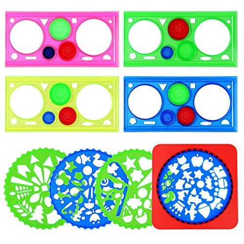 Hestya 8 Pieces Drawing Stencils Set Spiral Drawing Ruler Stencil Template with Holder for Kindergarten Students Kids, 2 Styles
