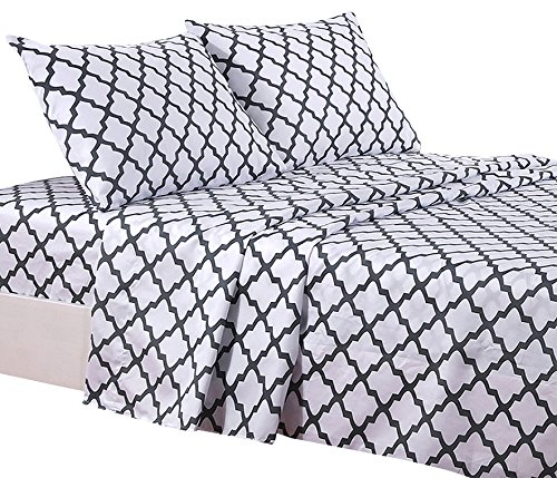 (Lux Decor Collection Bed Sheet Set - Brushed Microfiber 1800 Bedding - Wrinkle, Stain and Fade Resistant - Hypoallergenic - 4 Piece (Queen, Quatrefoil White))