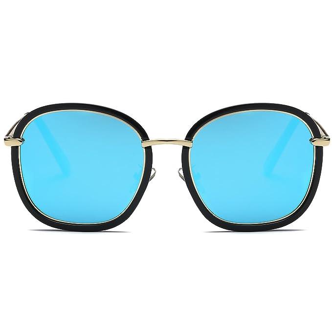 aabb41064da9d SojoS Kids Gafas De Sol Niños Y Niñas Fashion Cuadrado Redondo Chic UV 400  Lentes Espejo SK303 Marco Negro Lentes Azules  Amazon.es  Ropa y accesorios