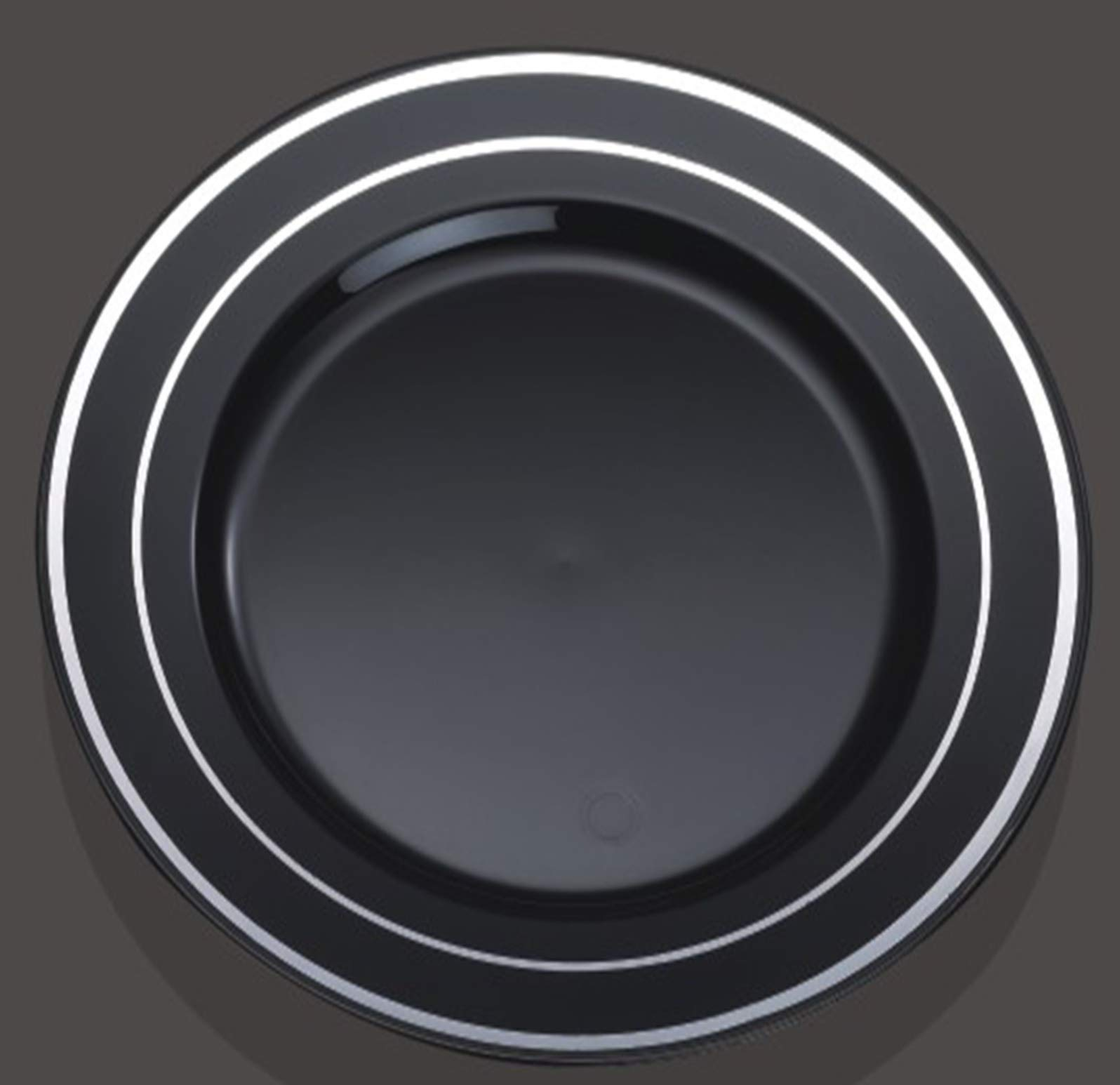100 Piece Plastic Plates Black & Silver | 50 Guest | 50 Dinner Plates, 50 Dessert Plates by You're Invited (Image #1)