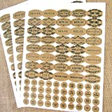 120 Apothecary Oval Poly Weatherproof Kraft Look Essential Oil Bottle Labels Plus 120 Matching Top...