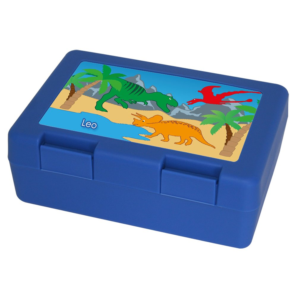 Brotdose mit Namen Leo und schönem Dinosaurier-Motiv für Jungen - Brotbox - Vesperdose - Vesperbox - Brotzeitdose mit Vornamen Eurofoto S024015130