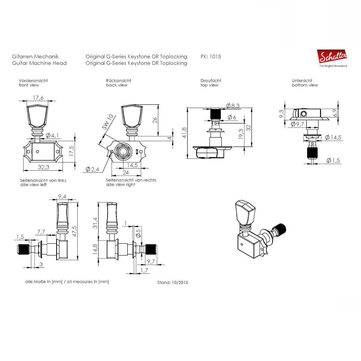 Amazon.com: Schaller Machine Heads - Original G-Series Deluxe Keystone DR Toplocking Nickel: Musical Instruments