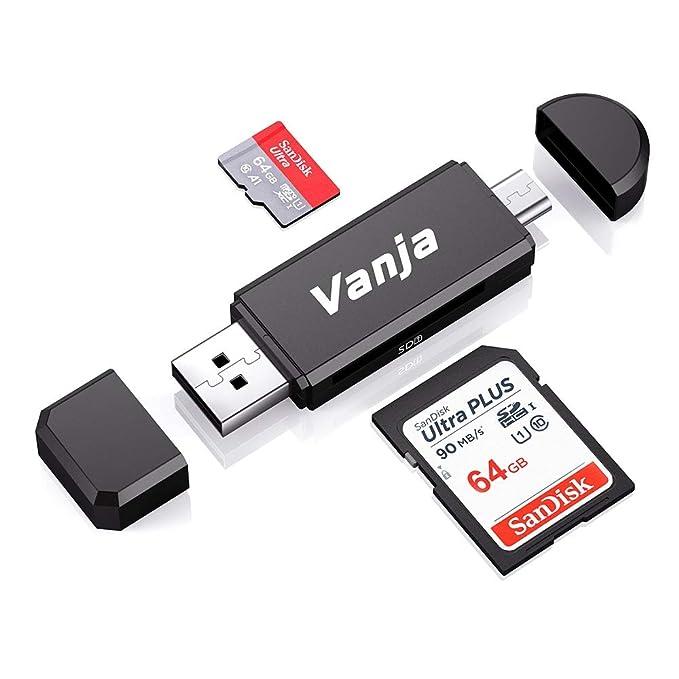 Vanja Micro USB OTG Adapter and USB 2.0 Portable Memory Card Reader for SDXC, SDHC, SD, MMC, RS-MMC, Micro SDXC, Micro SD, Micro SDHC Card and UHS-I ...