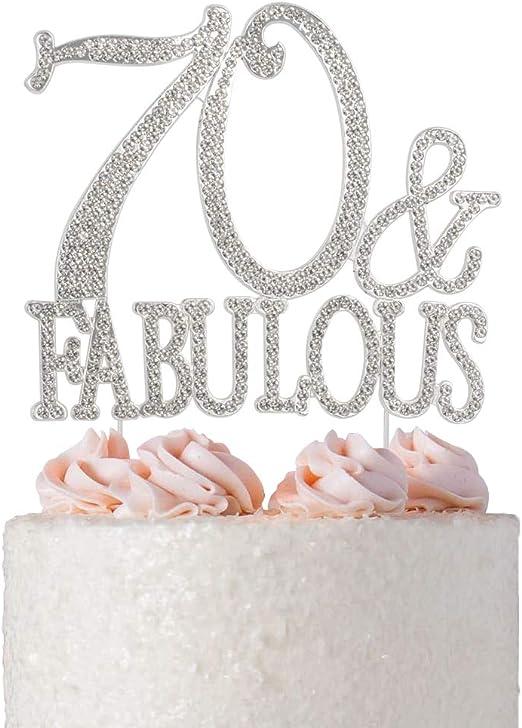 Brilliant Amazon Com Premium Metal 70 And Fabulous Silver Rhinestone Gem Personalised Birthday Cards Sponlily Jamesorg
