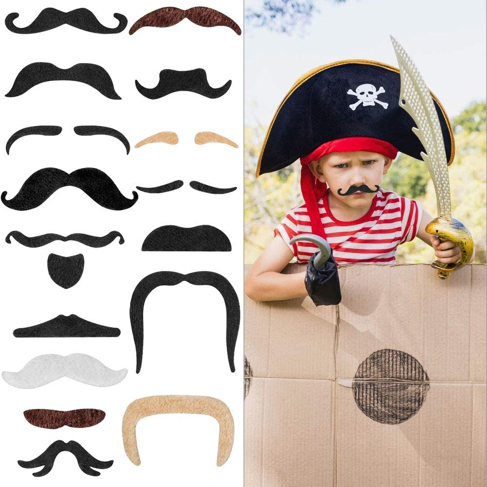 4 Colors AFASOES 48 Pieces Fake Moustache Beard Self Adhesive Moustaches Novelty Beard 16 Design Style Novelty Moustaches for Halloween Dress up//Christmas Cosplay//Mustache Beard Party Supplies