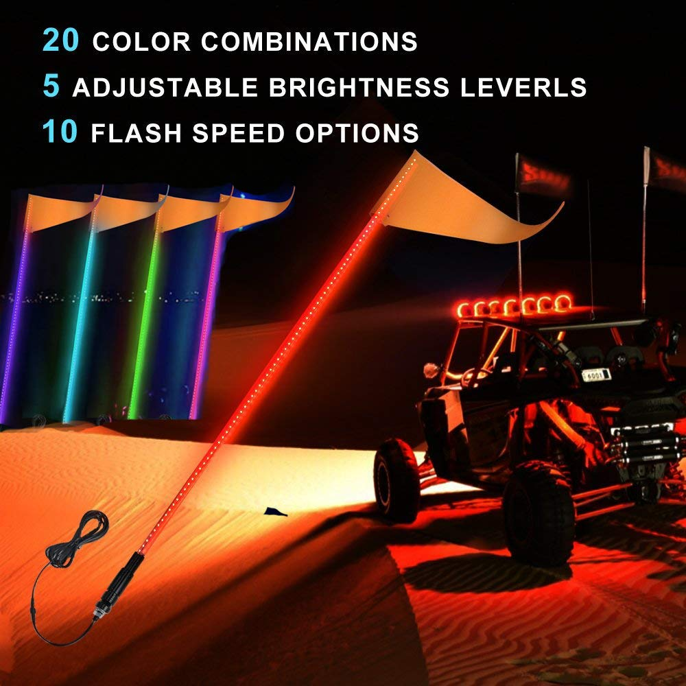 ATV UTV LED Whip Lights, Safety Flag Pole Antenna Lights for Polaris RZR Sand Dune Buggy Quad Truck Boat 5FT RGB (One Whip Lights,One Remote Control) VicsaWin