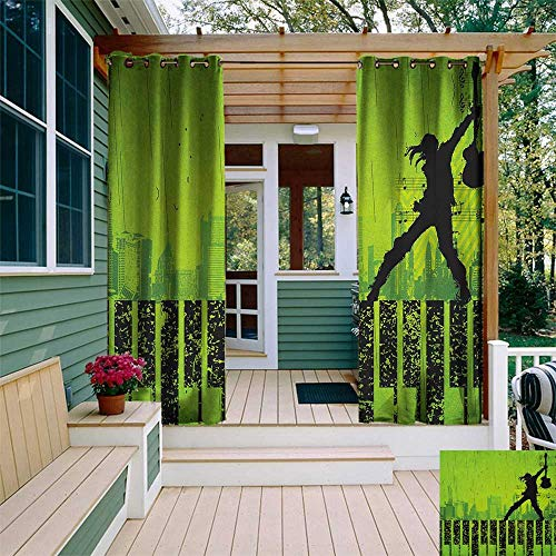 Popstar Party, Outdoor Curtain Set of 2 Panels, Music in the City Theme Singer with Electric Guitar on Grunge Backdrop, Outdoor Curtain panels for Patio Waterproof W120 x L96 Inch Lime Green Black