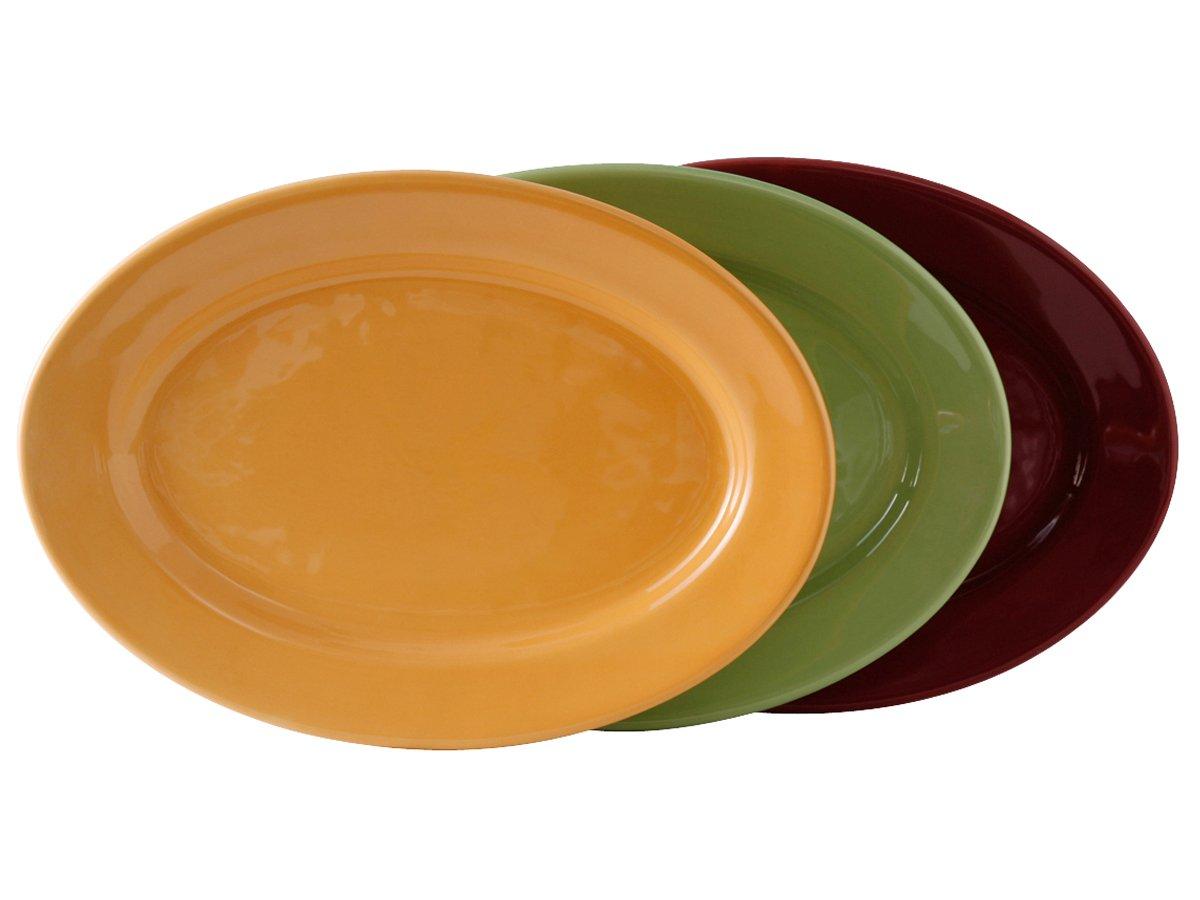 Tuxton DYH-140 Vitrified China Oval Platter, 14-1/8'' x 10-1/4'', Butterscotch, Cranberry and Pistachio (Pack of 12),