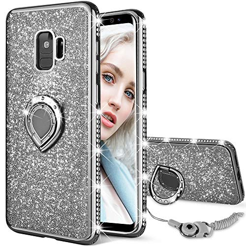 Maxdara Galaxy S9 Case, Galaxy S9 Glitter Sparkle Cute Women Girls Case Bling Shiny Diamond Rhinestone Ring Holder Stand Kickstand TPU Bumper Case Cover for Samsung Galaxy S9 5.8 inches (Black)