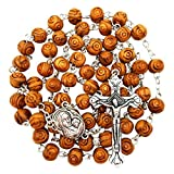 BLESSED CATHOLIC ROSARY NECKLACE Olive Wood Carved Beads With...