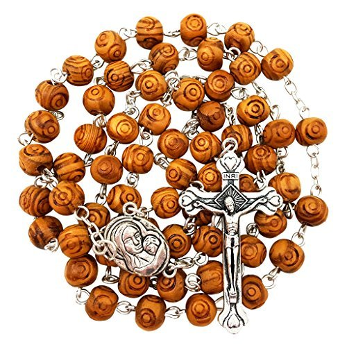 (BLESSED CATHOLIC ROSARY NECKLACE Olive Wood Carved Beads With Jerusalem Soil & Cross Crucifix in Gift Box, Brown)