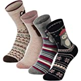 Christmas Socks, 4-Pack Soft Cotton Xmas Holiday Winter Warm Thick Home Socks