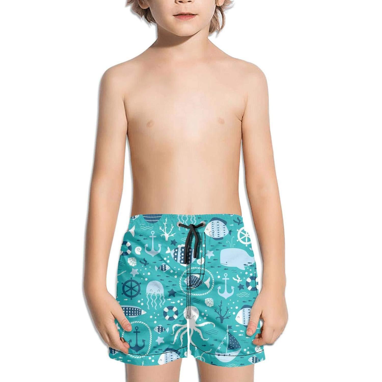 Etstk Comic Underwater Scenery Kids Quick Dry Shorts for Men