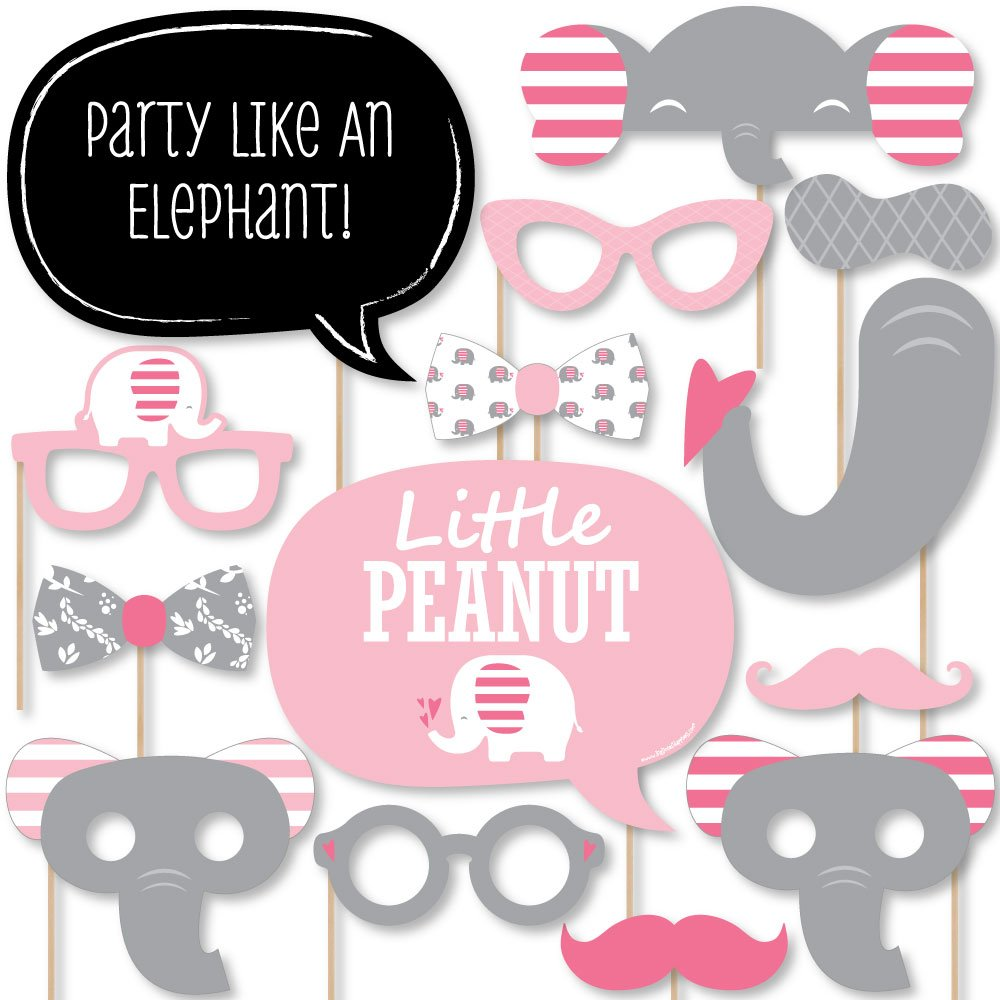 Pink Elephant - Girl Baby Shower or Birthday Party Photo Booth Props Kit - 20 Count by Big Dot of Happiness