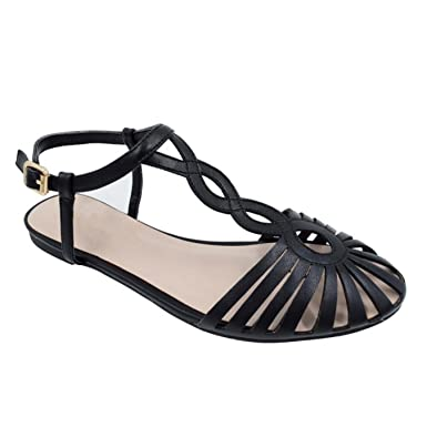 6cf9fd208e2f37 Image Unavailable. Image not available for. Color  Gladiator Sandals Women  Summer Flats Cute Ladies White Flat Sandals Ankle Strappy ...