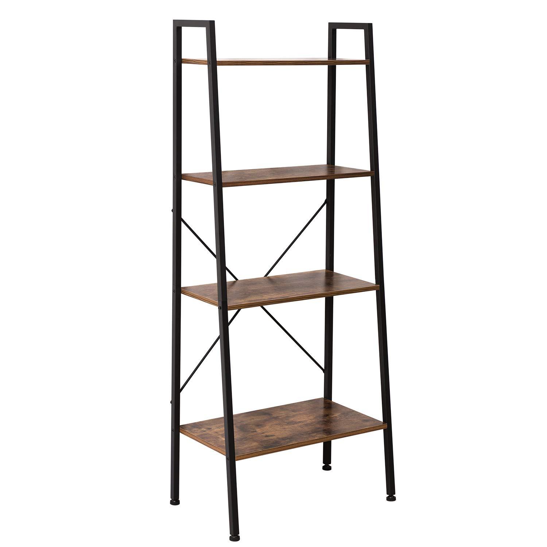 IRONCK Bookshelf, 4-Tier Ladder Shelf, Storage Shelves Rack Shelf Unit, Wood Look Accent Furniture Metal Frame, Vintage Home Office Furniture for Bathroom, Living Room, Rustic Brown by IRONCK