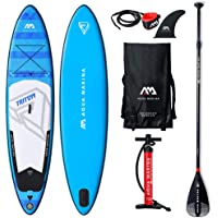 Aqua Marina Triton SUP Stand Up Paddle Board with Paddle, Leash, Magic Back Pack and Double Action Pump