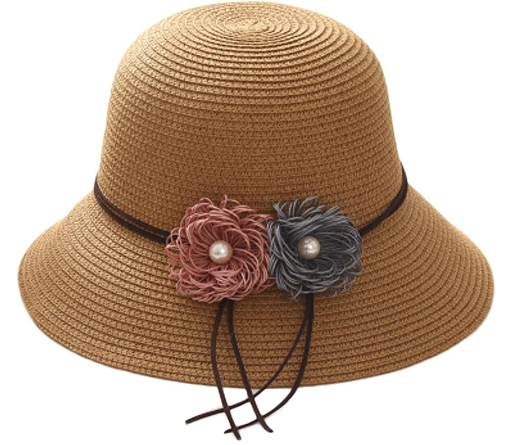 Leisial Women Lady Sun Hat Elegant Flower Design Straw Basin Cap Fisherman Hat Summer Beach Cap Foldable and Breathable